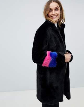 Barneys New York Barneys Originals color block sleeve faux fur coat