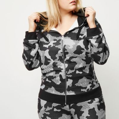 River IslandRiver Island Womens Plus grey camo print gym hoodie