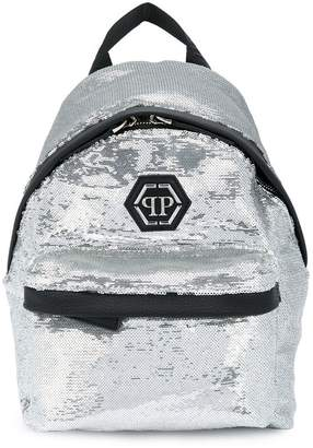 Philipp Plein Junior sequinned logo backpack