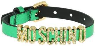 Moschino Logo Leather Bracelet W/ Crystals
