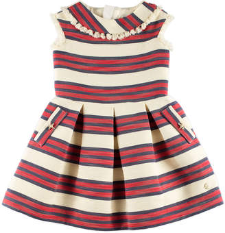 Carrera Pili Sleeveless Stripe Dress w/ Tassel Trim, Red, Size 4-10