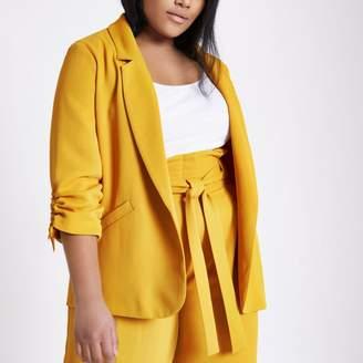 River Island Womens Plus mustard yellow ruched sleeve blazer
