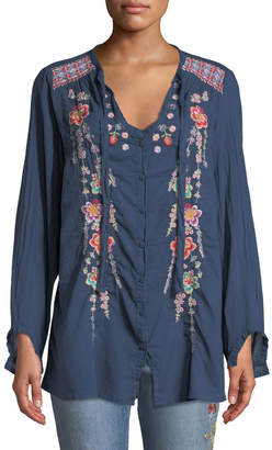 Johnny Was Alaura Tie-Neck Floral Embroidery Blouse