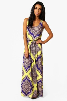 boohoo Neon Paisley Racer Back Maxi Dress