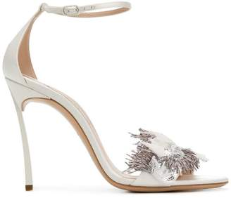 Casadei feather-embellished sandals