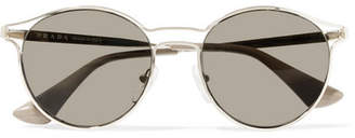 Prada Round-frame Gold-tone Mirrored Sunglasses