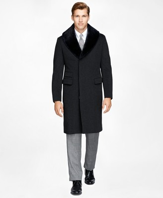 Brooks Brothers Shearling Collar Chesterfield Coat