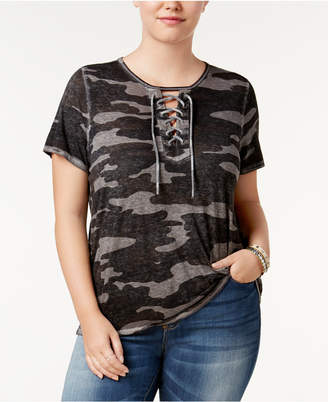 Lucky Brand Trendy Plus Size Lace-Up T-Shirt