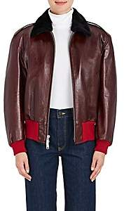 Calvin Klein Women's Shearling-Lined Leather Bomber Jacket-Wine