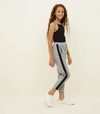 New Look Girls Grey Side Stripe Check Pull-On Trousers