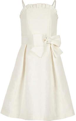 River Island Girls White jacquard flower girl dress