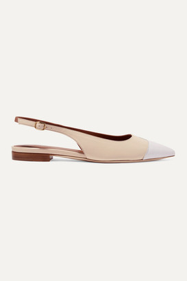 Malone Souliers Bianca Color-block Leather Slingback Point-toe Flats - White
