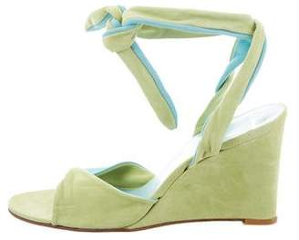 Delman Suede Lace-Up Wedges