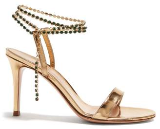 Gianvito Rossi Gems 85 Crystal Embellished Leather Sandals - Womens - Gold