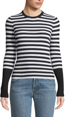 ATM Anthony Thomas Melillo Striped Wool Ribbed Crewneck Sweater