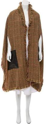 Sonia Rykiel Leather-Trimmed Wool-Blend Cape