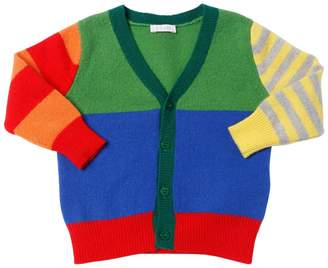 Il Gufo Color Blocked Wool Knit Cardigan