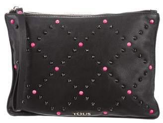 Tous Spike-Embellished Leather Wristlet