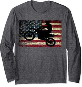Dirt Bike American Flag Long Sleeve Sweater Shirt