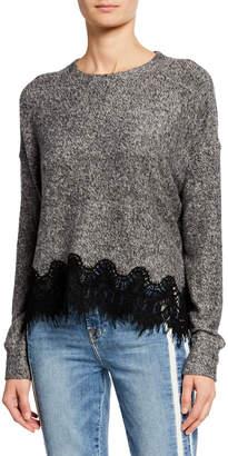 The Kooples Loose Long-Sleeve Sweatshirt w Lace Detail