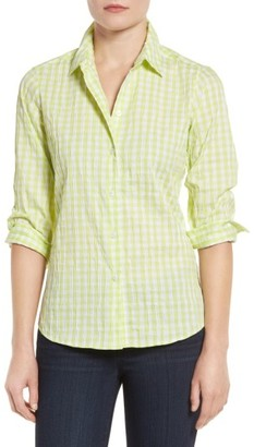Petite Women's Foxcroft Crinkled Gingham Shirt $79 thestylecure.com