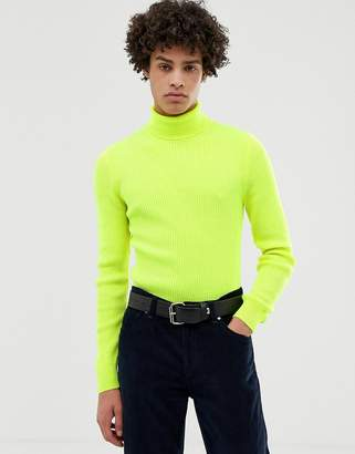 Asos Design DESIGN muscle fit ribbed roll neck sweater in neon yellow