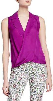 L'Agence Freja Wrap-Front Sleeveless Silk Blouse