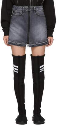 Marcelo Burlon County of Milan Black Denim Logo Tape Miniskirt