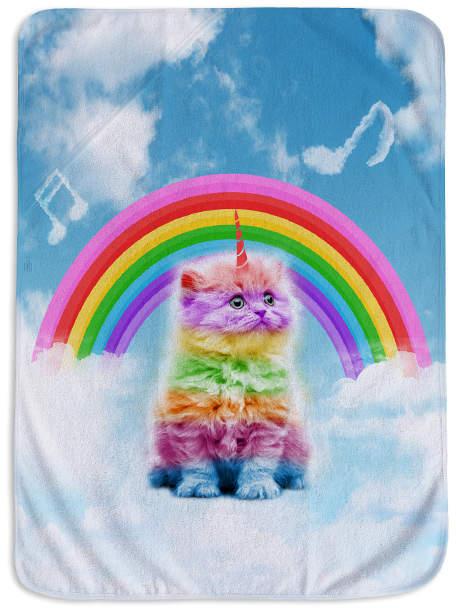 45'' x 62'' Blue Rainbow Kittycorn on Cloud Fleece Blanket
