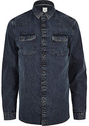 River Island Blue acid wash long sleeve denim shirt