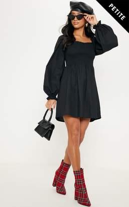 PrettyLittleThing Petite Black Square Neck Shirred Skater Dress