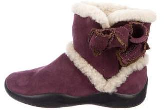 Prada Sport Girls' Suede Faux Shearling Trimmed Boots