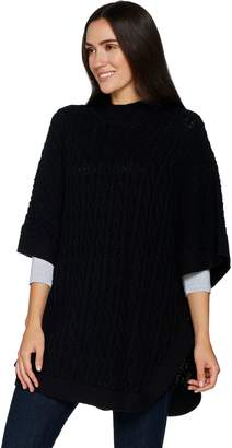 Denim & Co. Stand Collar Pullover Cable Knit Poncho