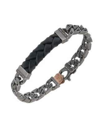 Marco Dal Maso Men's Woven Leather/Silver Chain Bracelet w/ 18k Gold-Plated Clasp, Black