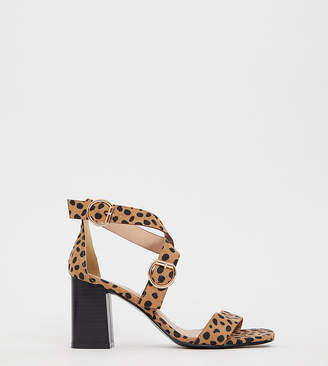 New Look wide fit pu multi strap block heeled sandal in animal print