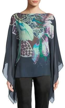Roberto Cavalli Fluid-Sleeve Exotic Floral-Print Silk Georgette Caftan Blouse