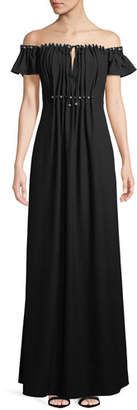 Zac Posen Claudine Off-the-Shoulder Keyhole Gown