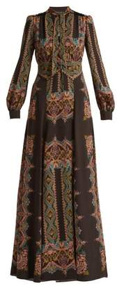 Etro Paisley Print Pussybow Crepe Dress - Womens - Black Print