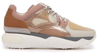 Fendi - Low Top Leather And Mesh Trainers - Mens - Pink