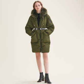 Maje Long down jacket with fur