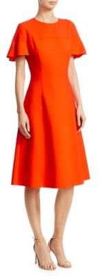Carolina Herrera Stretch-Wool Flutter-Sleeve A-Line Dress