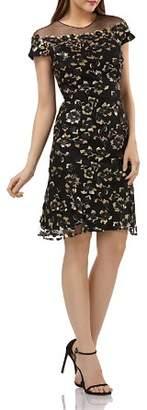 Carmen Marc Valvo Sequined Illusion Dress