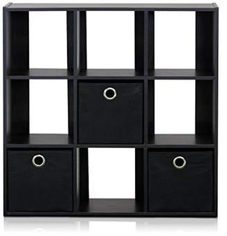 Furinno 13207EX/BK Simplistic 9-Cube Organizer with Bins