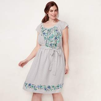 Lauren Conrad Plus Size Floral Pleated Dress