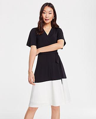 Ann Taylor Petite Colorblock Flutter Sleeve Wrap Dress