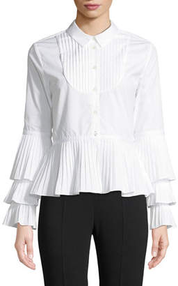 Jonathan Simkhai Pleated Oxford Peplum Button-Down Shirt