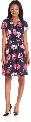 Ellen Tracy Women's Short Sleeved Printed Wrap Fit and Flare