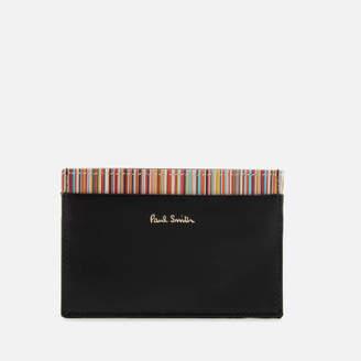 Men's Stripe Detail Credit Card Case Black