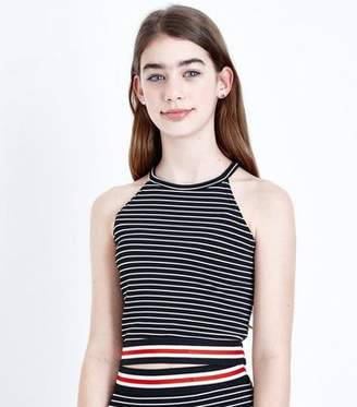New Look Girls Black Stripe Contrast Hem Cami Top
