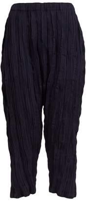 Issey Miyake Splash Pleat High Rise Trousers - Womens - Black